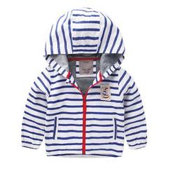 lalalove - 童裝條紋連帽夾克