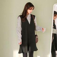 Seoul Fashion - Color-Block Ruffle-Hem Shirtdress