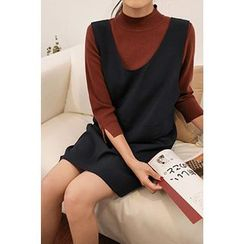 CHERRYKOKO - Mock-Neck 3/4-Sleeve Sweater