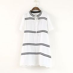 Ranche - Tie Neck Striped Short Sleeve Dress