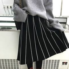 Alfie - Striped Knit A-Line Skirt