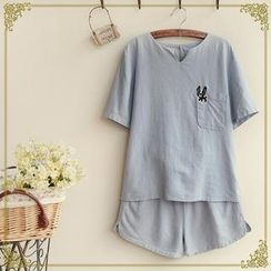 Fairyland - Set: Short-Sleeve Dog Embroidered Top + Shorts