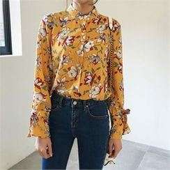 QNIGIRLS - Frill-Sleeve Floral Print Blouse