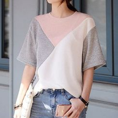 DEEPNY - Three-Tone Short-Sleeve Knit Sweater
