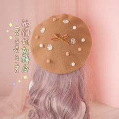 AOI - Applique Bow Beret