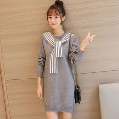 Colorful Shop - Long-Sleeve Knit Dress