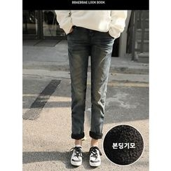 BBAEBBAE - High-Waist Fleece-Lined Baggy-Fit Jeans