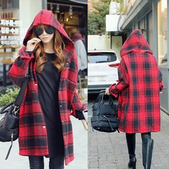 Capricorn - Plaid Hooded Knit Jacket