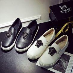 Kireina - Faux-Leather Studded Slip-Ons