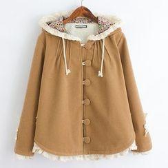 ninna nanna - 蕾絲邊連帽針織大衣
