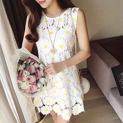 Panda Love - Sleeveless Floral Dress