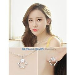 soo n soo - Set: Rhinestone Pentagon Silver Stud Earrings + Necklace