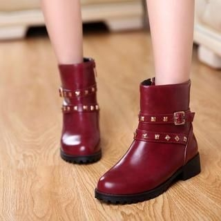 Pangmama - Studded Buckled Short Boots