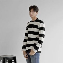 Seoul Homme - Long-Sleeve Rugby-Stripe T-Shirt