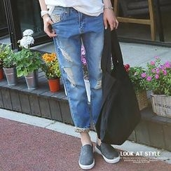 REDOPIN - Distressed Blue Jeans With Suspenders