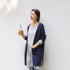 JUSTONE - Dual-Pocket Open-Front Long Cardigan