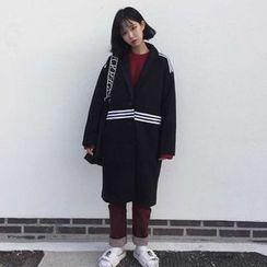 Windflower - Contrast-Stripe Buttoned Coat