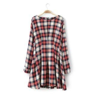 JVL - Plaid Pleated A-Line Dress