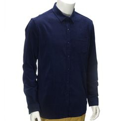 YesStyle M - Buttoned-Collar Corduroy Shirt