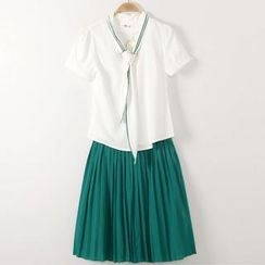 JVL - Set: Tie-Neck Blouse + Pleated Skirt
