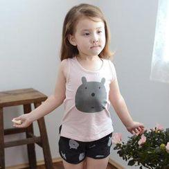 柠檬嘟嘟 - 小童无袖小熊印花 T 恤