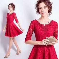 Angel Bridal - 中袖蕾丝短礼服裙