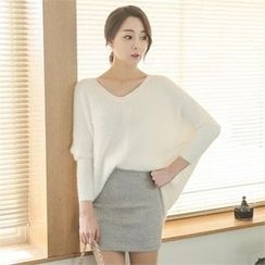 ode' - Dolman-Sleeve Furry-Knit Sweater