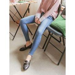 LOLOten - Band-Waist Washed Skinny Jeans