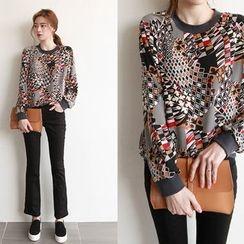 NIPONJJUYA - Raglan-Sleeve Pattern Pullover