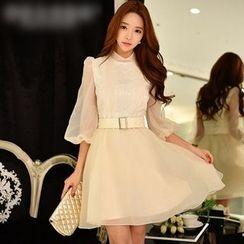 Dabuwawa - Lace-Trim A-Line Dress