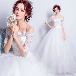 Angel Bridal - Elbow-Sleeve Lace Ball Gown Wedding Dress
