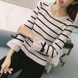 AININI - 條紋中袖針織上衣