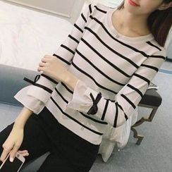 AININI - Stripe Elbow-Sleeve Knit Top