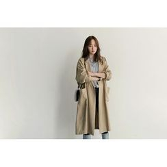 UPTOWNHOLIC - Open-Front Pocket-Detail Trench Coat