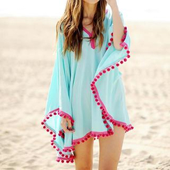 Sunset Hours - Bobble Trim Swimsuit Cover-Up