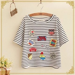 Fairyland - Patched Stripe Short-Sleeve T-Shirt
