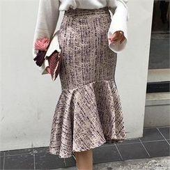 LIPHOP - Ruffle-Hem Midi Skirt