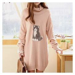 Sechuna - Turtle-Neck Drop-Shoulder Knit Dress