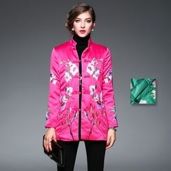 Y:Q - Floral Embroidered Frog Button Jacket