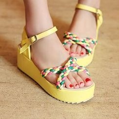 Charming Kicks - Braid Strap Platform Sandals