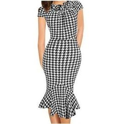Forest Of Darama - Houndstooth Midi Mermaid Dress