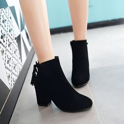 YOUIN - Tasseled Zip Chunky-Heel Ankle Boots