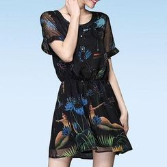 Mythmax - Short-Sleeve Smocked-Waist Printed Dress