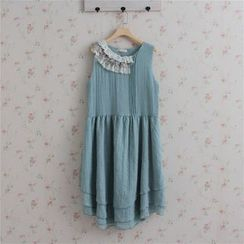 Blue Hat - Sleeveless Lace-Trim Dress
