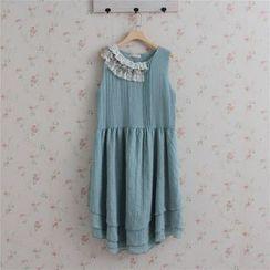 Blue Hat - 無袖蕾絲邊連衣裙