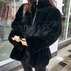 chuu - Drawstring-Waist Zip-Up Faux-Fur Jacket