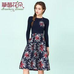 Strawberry Flower - Mock Two-piece Floral Print Knit Dress