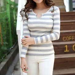 iam-girl - Open-Placket Stripe Ribbed Top