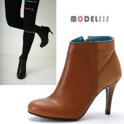 MODELSIS - Genuine-Leather High-Heel Ankle Boots