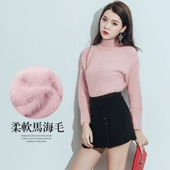 PUFII - Turtleneck Furry Knit Top